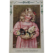 1911 May Bowley Signed Oilette Easter Postcard from Raphael Tuck & Sons