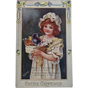 May Bowley Signed Oilette Easter Postcard from Raphael Tuck & Sons Unused Girl with Baby Chicks
