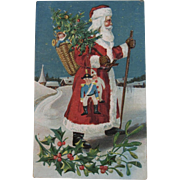 1909 German Santa Postcard Germany Embossed Carrying Toy Soldier Clown Doll Basket of Toys Tree and Walking Stick