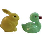 Easter Bunny and Duck Hard Plastic Rattle Toys Knickerbocker Yellow and Green