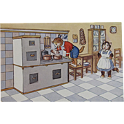 German Dressed Cats in the Kitchen Cooking Postcard by SSS Unused