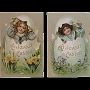 German Easter Postcards Children Hatching from Eggs Embossed Edwardian Era