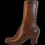 Ladies Wood Boot Form Half Wall Hanging