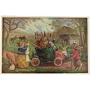 Racey Helps Dressed Rabbits Postcard The New Car Unused Medici Society