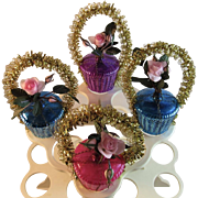 4 West German Wire Wrapped Flower Basket Ornaments with Pink Roses and Gold Tinsel Handles Germany Vintage Easter or Christmas
