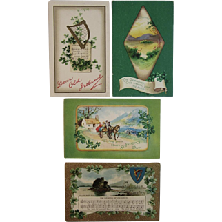 4 St. Patrick's Day Postcards 1 Clapsaddle Horse and Wagon Music Song Lyrics Some Embossed and German