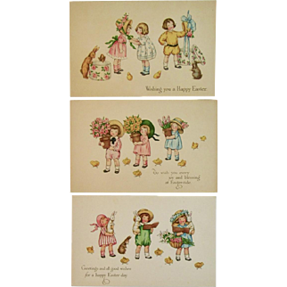 3 Gibson Art Co Easter Postcards Unused Children Bunny Rabbits and Chicks