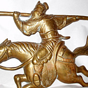 Huge Vintage 2' Chinese Cast Bronze Warrior on Galloping Horse Wall Sculpture