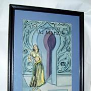 Original 1930 Taj Mahal Perfume Dept. Store signed Counter Display Art