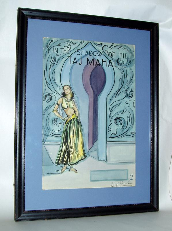 Original 1930 Taj Mahal Perfume Dept. Store signed Counter Display Art