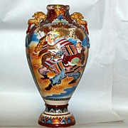 "Antique 22"" Satsuma Kyoto Vase Samurai Scene with Lion Dog Handles"
