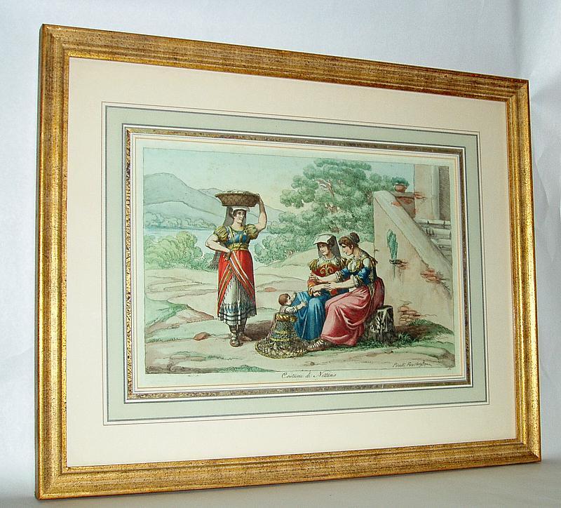 Vintage Italian Colored Lithograph Pinelli Fece 1809 Roma, Costumi di Nettuno