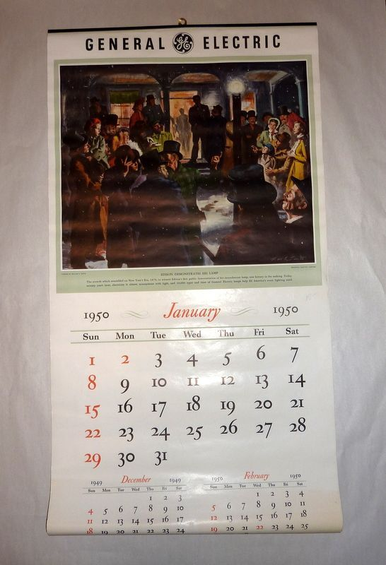 """Vintage 1950 General Electric 30"""" Advertising Wall Calendar 12 pages"""