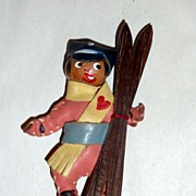 Charming Vintage 1940's Wood & Leather Ski Patrol Figure Brooch / Pin