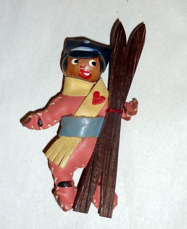 Charming Vintage 1940's Wood & Leather Ski Patrol Figure Brooch / Pin