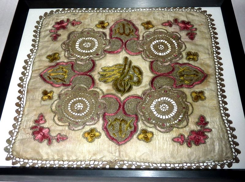 Antique 19th century Hand Embroidered Silk Handkerchief - Pink & Green