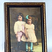 Beautiful Color Cabinet Photograph of Two Young Children - framed