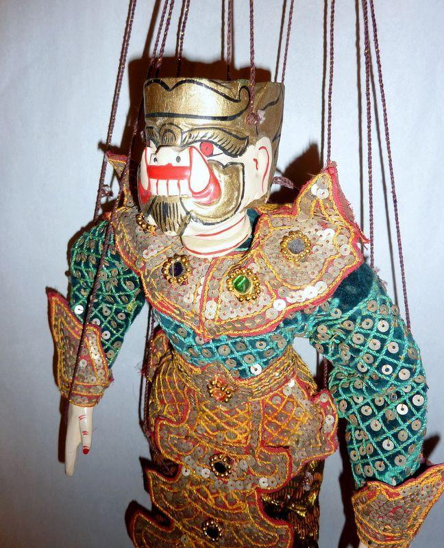 """Vintage Carved Teak Wood Burma Marionette 14"""" Ogre – Demon of the Green Shirt"""