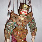 "Vintage Carved Teak Wood Burma Marionette 14"" Demon in a Pink Sarong"