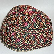 Rare Judaica Antique 19th century embroidered Tubeteika - Yarmulke Kippah Bukharan (C)
