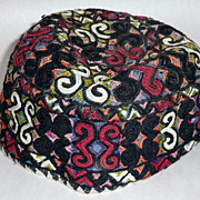 Rare Judaica Antique 19th century embroidered Tubeteika Yarmulke Kippah Bukharan (D)