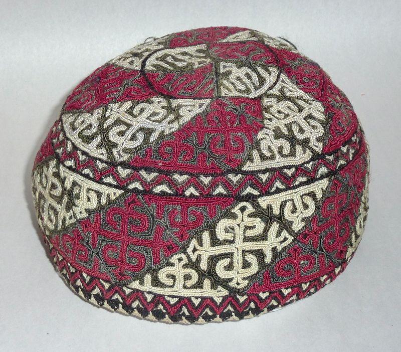 Rare Judaica Antique 19th century embroidered Tubeteika Yarmulke Kippah Bukharan (F)