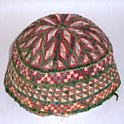 Rare Judaica Antique 19th century hand embroidered Tubeteika Yarmulke Kippah Bukharan (H)