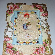 "Victorian 11"" Valentine Card Multi-layer Paper Lace Doily & Poem Inside"
