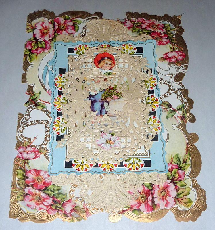 "Victorian 11"" Valentine Card Multi-layer Paper Lace Doily & Poem Inside"