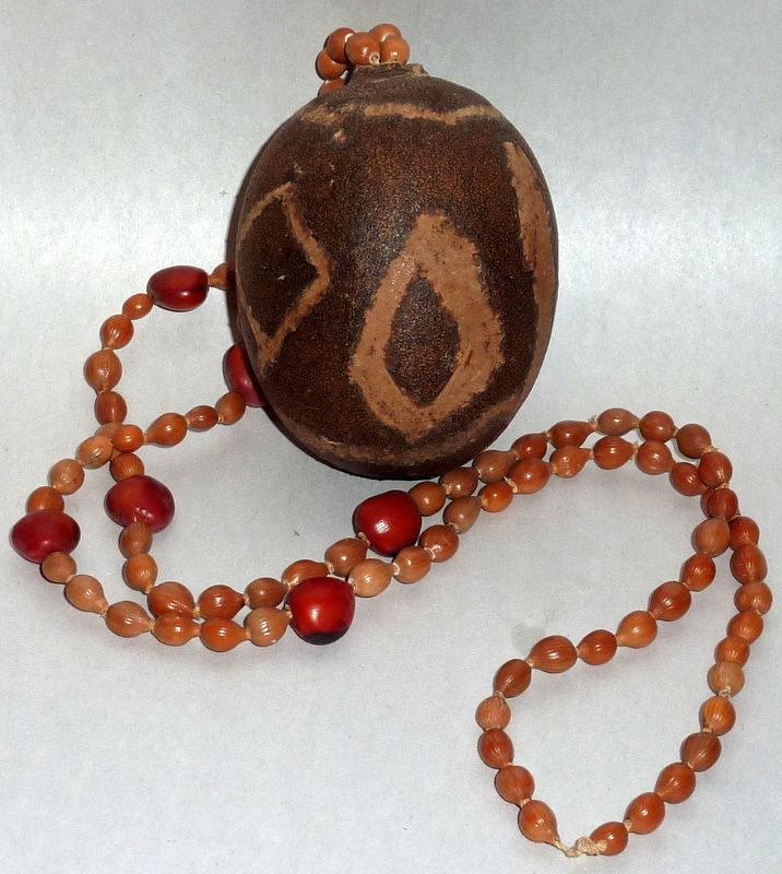 """Vintage African Seed Necklace with 3"""" Egg Shaped Pod Pendant"""