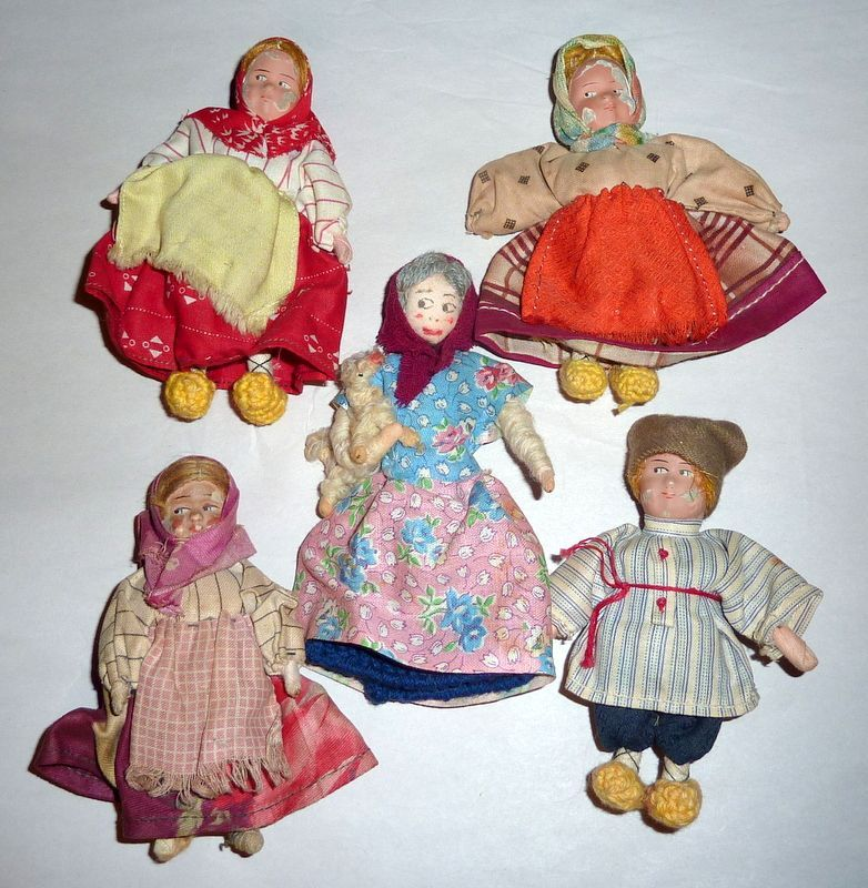 """5 Antique European 4 1/2"""" Small Hand Made Dolls Cloth & Composition"""