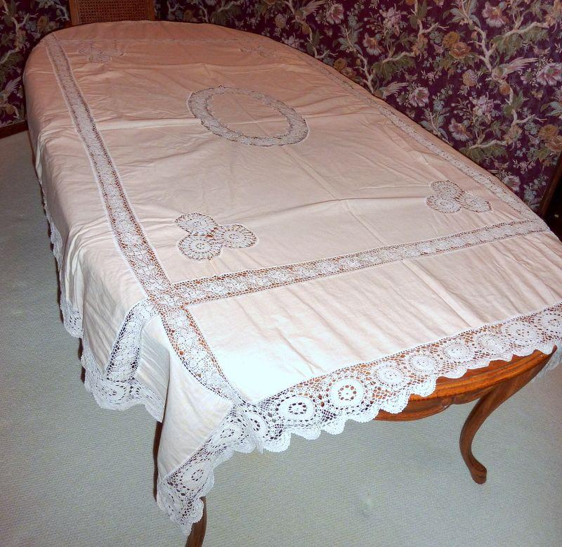 "Vintage Mocha / Ecru Linen Tablecloth Hand Crocheted Inserts 84"" X 62"""