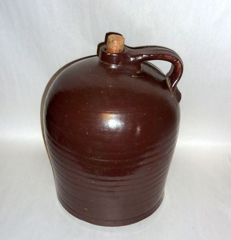 "Antique 12"" tall Brown Slip Glazed Stoneware Cider / Whiskey Jug"