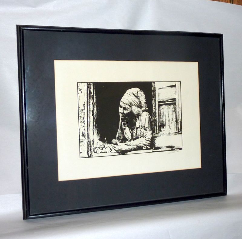 D. Minns signed Portrait of Old African Woman Selling Fruits from Shack - Litho