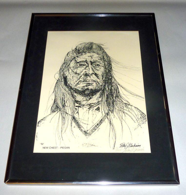 P J Klocksien Vintage Framed Litho 5/120 New Chest - Piegan Native American