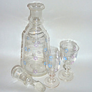 "Circa 1910 Blown Glass Enamel Flowered 9"" Cordial Decanter with two 3 ½"" Glasses"