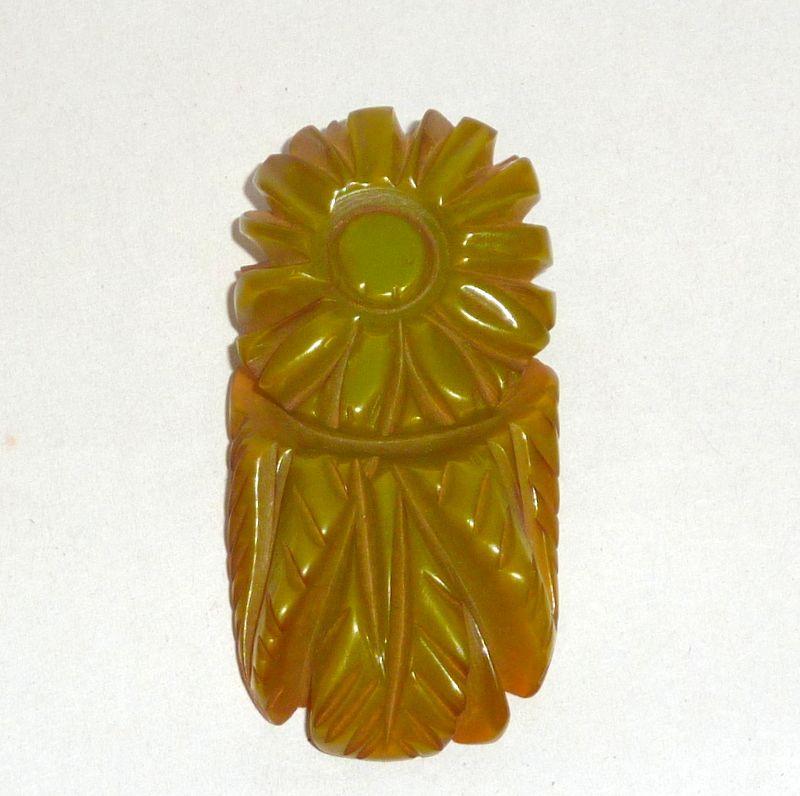 """Vintage Deep Carved Floral Green Bakelite 2"""" Dress Clip"""