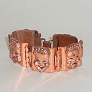 Vintage 1950's RENOIR Copper Drama Masks Links Bracelet