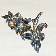 "Sterling Art Nouveau 2 1/2"" Brooch - Flowers Leaves Stems 15gms"