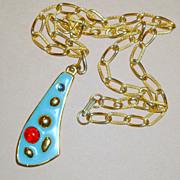 Vintage 1950's KRAMER Modernist Turquoise Enamel & Glass Necklace w/ Pendant