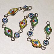 "Antique 8"" Long Tiny Micro Mosaic Italian Blue & Yellow Floral Bracelet"
