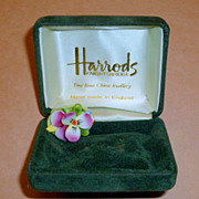 Vintage Harrods Hand Made Bone China Viola Flower Brooch Collar Pin in Box