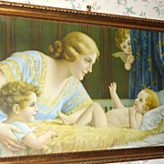"1920's Framed 42"" Lithograph Fr. Laubnitz Mother & Child & Cherubs"
