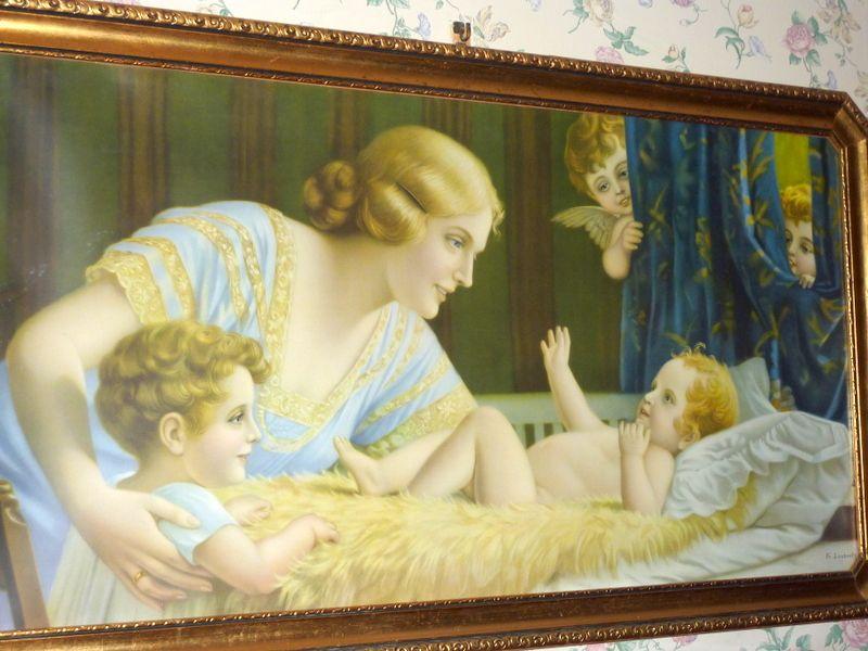 "1920's Framed 42"" Lithograph Fr. Laubnitz Mother & Child & Cherubs"
