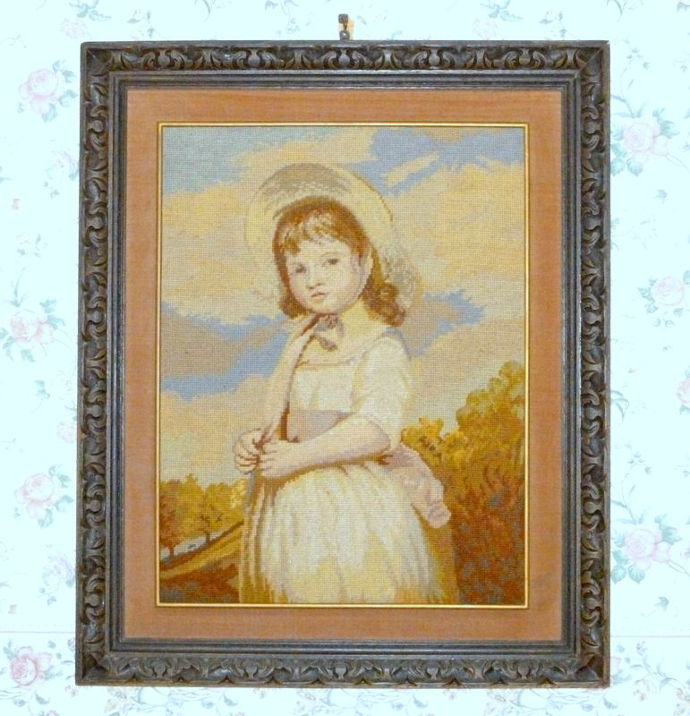 "Vintage 1920 Stunning Needlepoint Picture Portrait in Hand Carved Wood 32"" Frame"