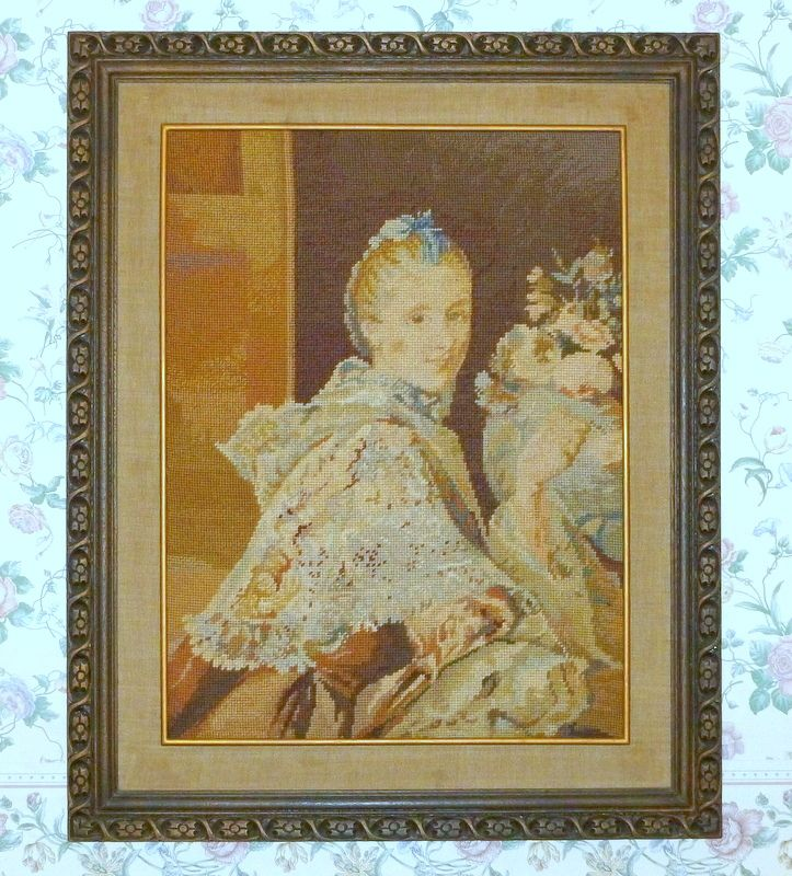 "Vintage 1920's Stunning Needlepoint Ramsay Portrait in Hand Carved Wood 32"" Frame"