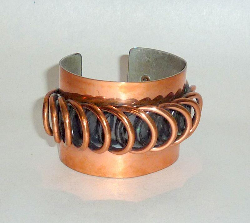"Vintage 1950's Fabulous Francisco Rebaje Modernist 2"" wide Copper Bangle"