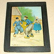 "Rare 1902 Color Framed 18"" Litho Tom Browne FIGHTING DUTCHMEN"