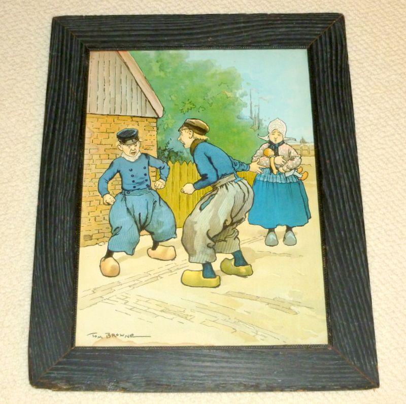 """Rare 1902 Color Framed 18"""" Litho Tom Browne FIGHTING DUTCHMEN"""