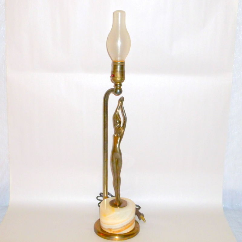 "1930's France Art Deco 24"" Bronzed Nude Lamp Onyx Block Base"
